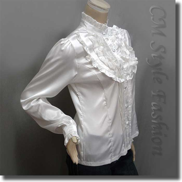 White Ruffle Victorian Blouse 78