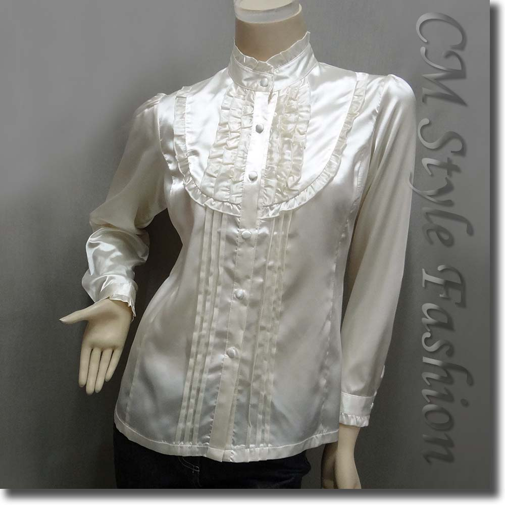 Victorian style ruffled satin elegant blouse shirt top for Victorian style