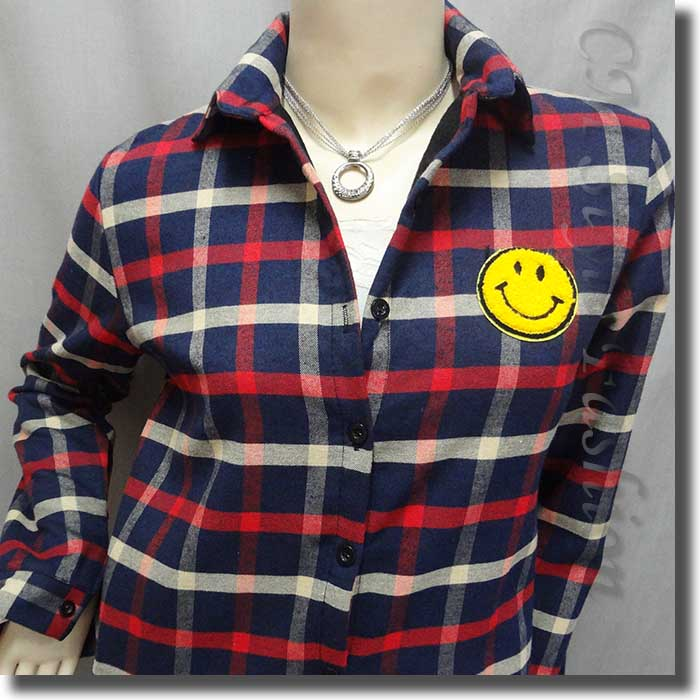 Plaid checked gingham smiley face shirt top red blue beige for Red white and blue plaid shirt
