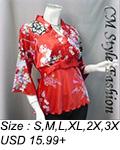 Japan Kimono Style Top Red