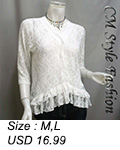 Floral Laced Sheer Cardigan Top White