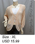 Front Tie Eyelet Crochet Cardigan Peach