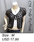Crochet Silvery Thread Front Tie Shrug Bolero Black