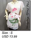 Flutter Sleeve Flowy Tunic w/ Belt Pink