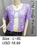 Applique Embroidery Mesh Bolero Top Purple