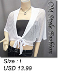 Front Tie Batwing Knit Crochet Cardigan White