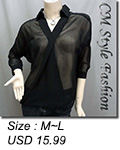 Sheer Twisted Blouse Shirt Top Black