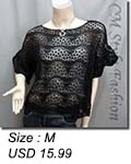 Scallop Edge Knit Mesh Sweater Top Black